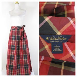 Brooks Brothers Red Check Plaid Silk Maxi Skirt 8
